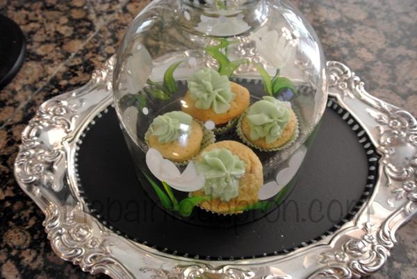 Baileys cupcakes in cloche thepaintedapron.com