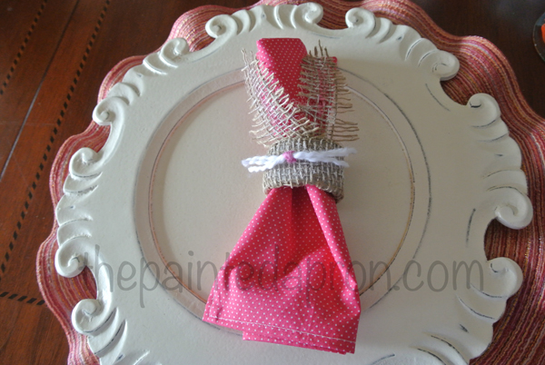 burlap bunny napkin ring