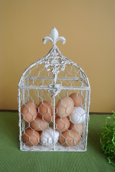 eggs in wire cage thepaintedapron.com