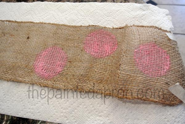 polka dot burlap ribbon thepaintedapron.com