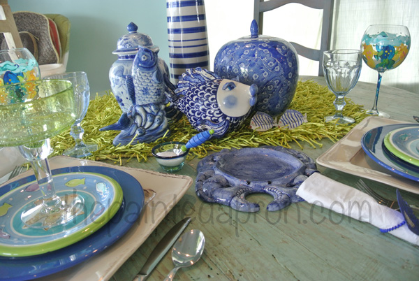 blue & lime table 1 thepaintedapron.com