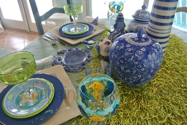 blue & lime table thepaintedapron.com