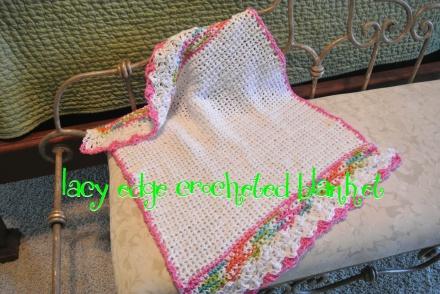 lace edge crocheted blanket thepaintedapron.com