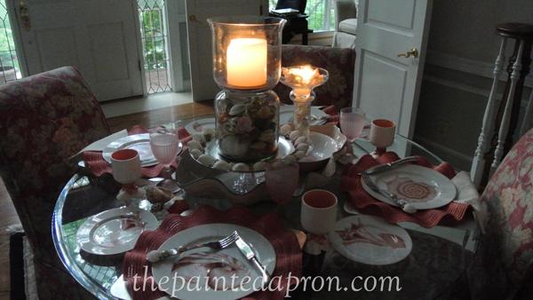 candle light shell table thepaintedapron.com
