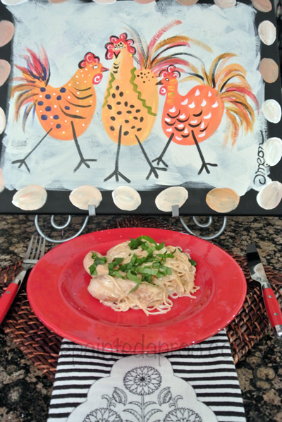 chicken with pasta and basil cream thepaintedapron.com