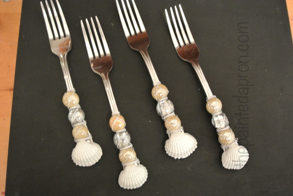 seashell beaded flatware thepaintedapron.com