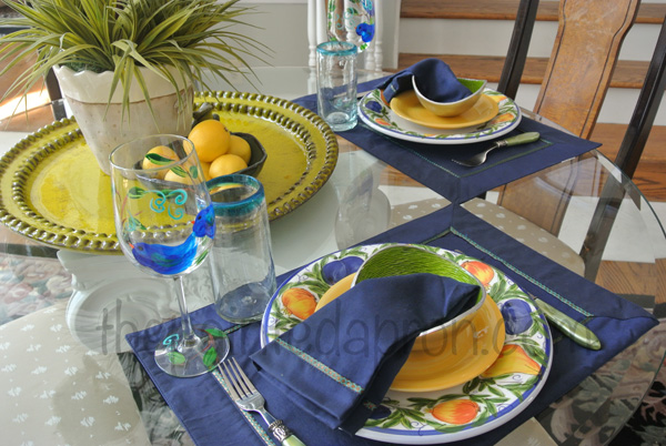 yellow and blue summer table thepaintedapron.com