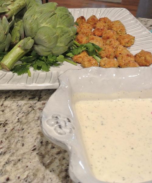 artichoke bites w:buttermilk ranch thepaintedapron.com