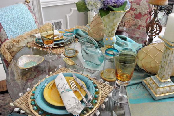 gold & turquoise table thepaintedapron.com