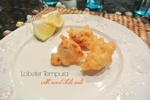 lobster tempura with sweet chili aoli