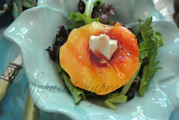 grilled peach with Raspberry balsamic glaze thepaintedapron.com
