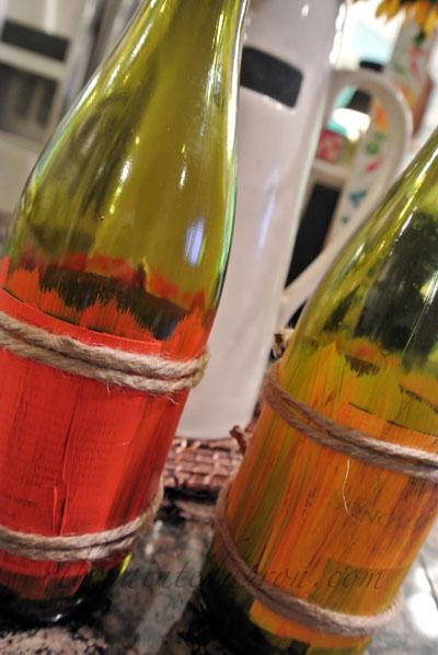 jute & paint wine bottles thepaintedapron.com