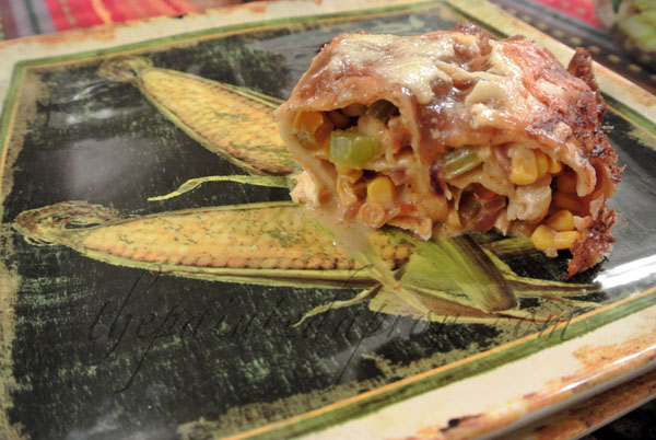 loaded veggie chicken enchiladas thepaintedapron.com