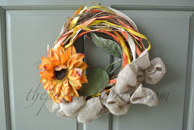 sunflower fall wreath thepaintedapron.com