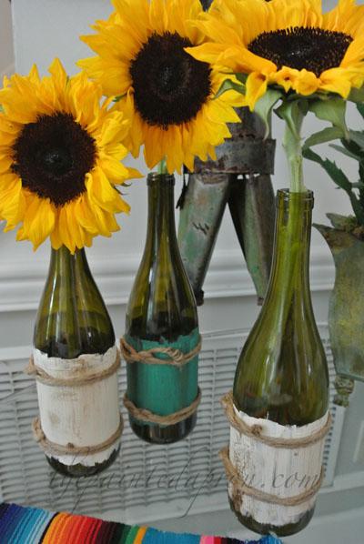 wine bottle vases thepaintedapron.com 1