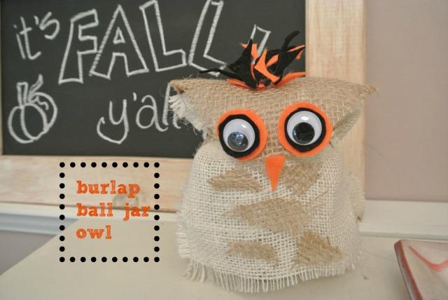 burlap ball jar owl thepaintedapron.com.