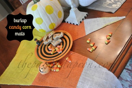 burlap candy corn mats thepaintedapron