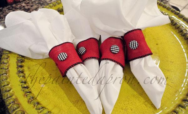 burlap ribbon napkin rings thepaintedapron.com