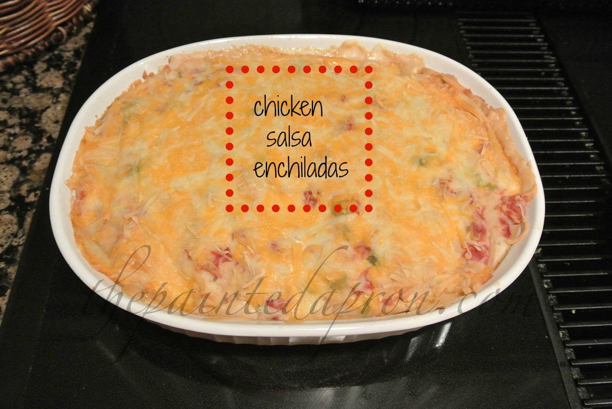 chicken salsa enchiladas thepaintedapron.com