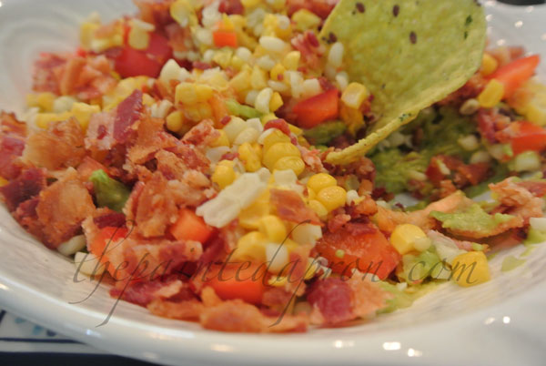 corn, bacon and avocado dip thepaintedapron.com