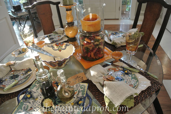 early fall Italian style table thepaintedapron.com