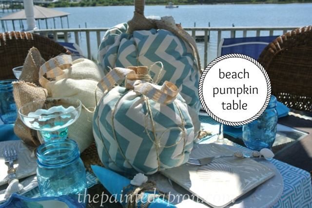 Beach Pumpkin Table thepaintedapron.com