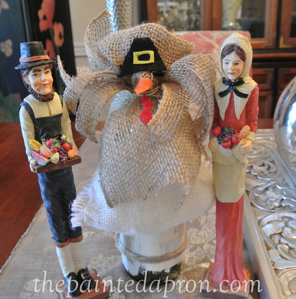 burlap turkey bottle topper thepaintedapron.com 1