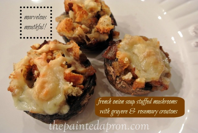 french onion mushrooms with gruyere and rosemary croutons thepaintedapron.com