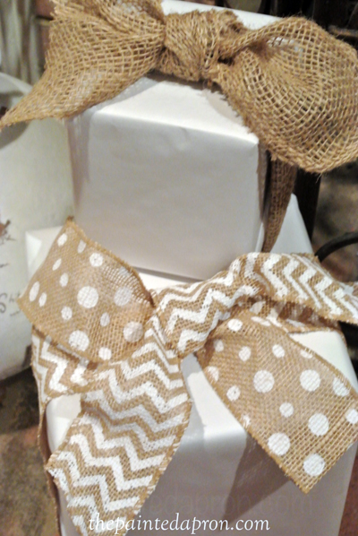 burlap ribbon fake packages thepaintedapron.com