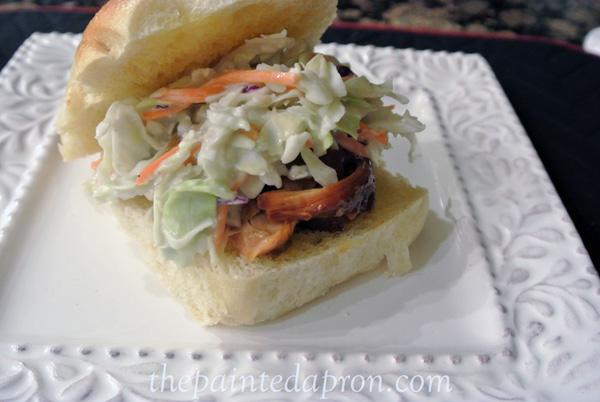 blue cheese slaw chicken burger thepaintedapron.com