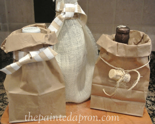 paper and burlap wine wrapping thepaintedapron.com