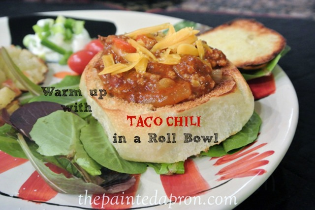 taco chili roll bowl thepaintedapron.com