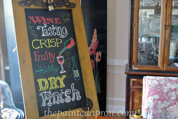 wine chalk board thepaintedapron.com