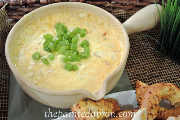 cheese fondue dip with chives thepaintedapron.com