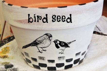 painted bird pot thepaintedapron.com