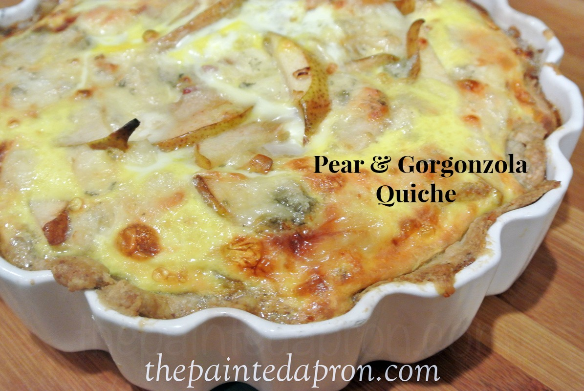 pear and gorgonzola quiche 1 thepaintedapron.com