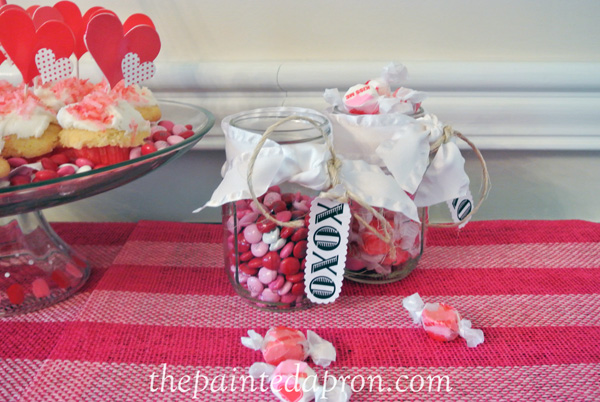 Valentine candy jars thepaintedapron.com