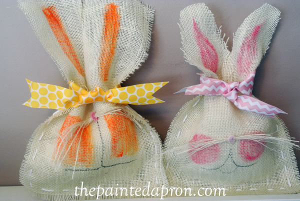 burlap bunny bags thepaintedapron.com