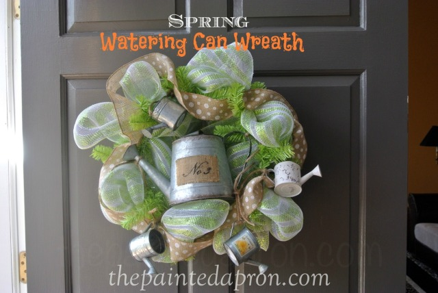 spring watering can wreath thepaintedapron.com