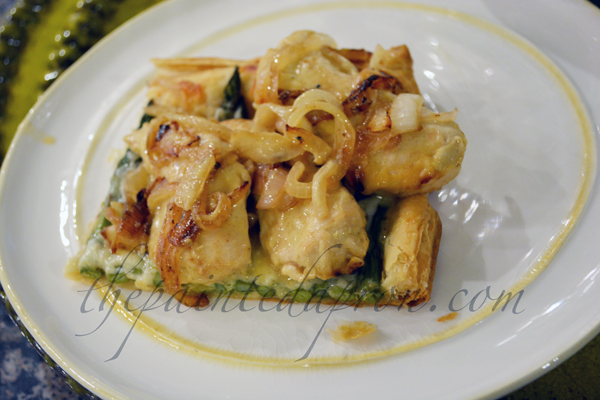 chicken topped puff pastry thepaintedapron.com