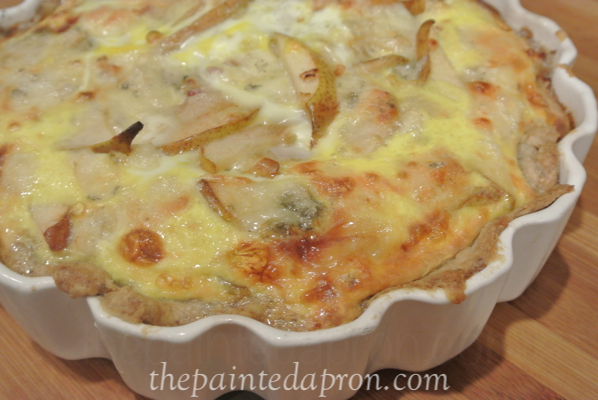 pear and gorgonzola quiche thepaintedapron.com