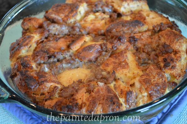cinnamon roll and sausage bake thepaintedapron.com