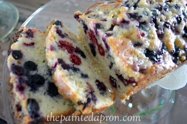 blue raspberry bread with orange glaze thepaintedapron.com