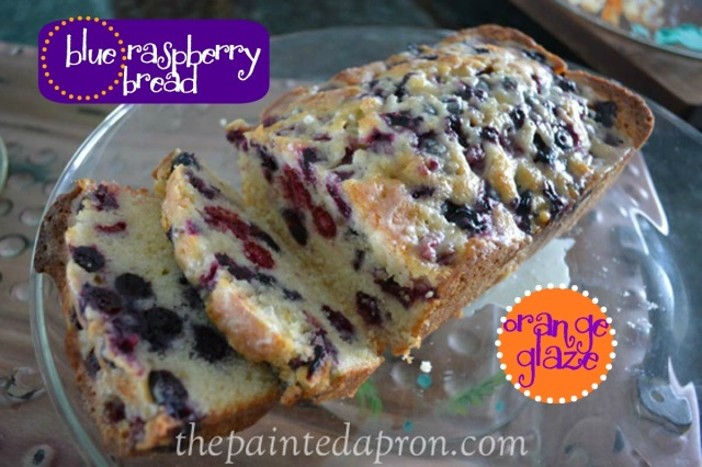 blueberry quick bread thepaintedapron.com