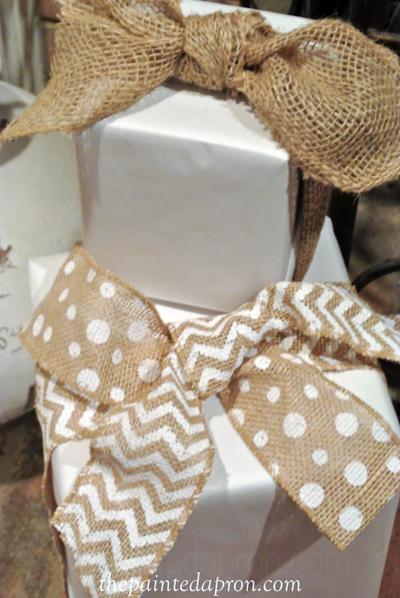 burlap ribbon fake packages thepaintedapron.com