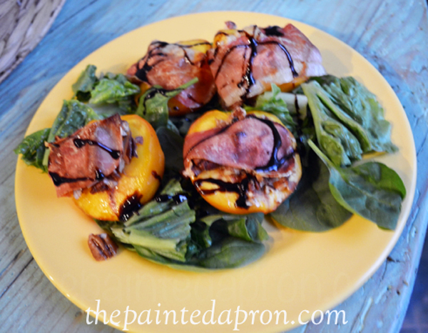 peach and prosciutto salad thepaintedapron.com