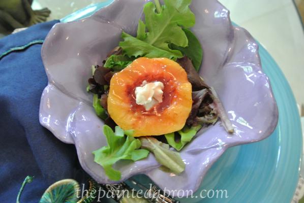 raspberry glaze peach salad thepaintedapron.com