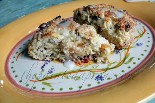 apricot, cranberry and pecan scones thepaintedapron.com