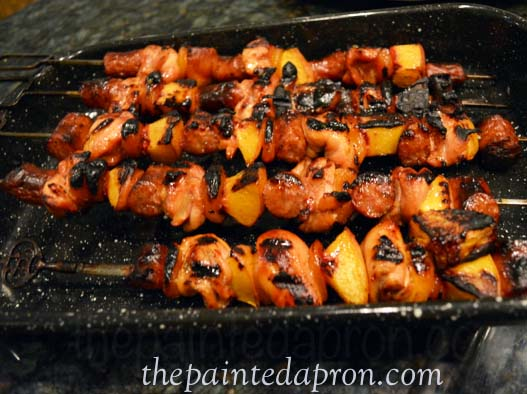 chicken kebabs with peach and apricot