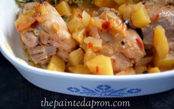 pineapple rum chicken thepaintedapron.com